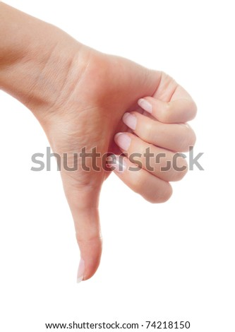Woman hand showing thumbs up gesture isolated - stock photo