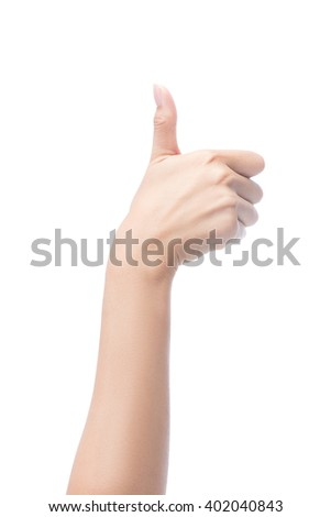 woman hand showing thumbs up sign, isolated on white with clipping path included - stock photo