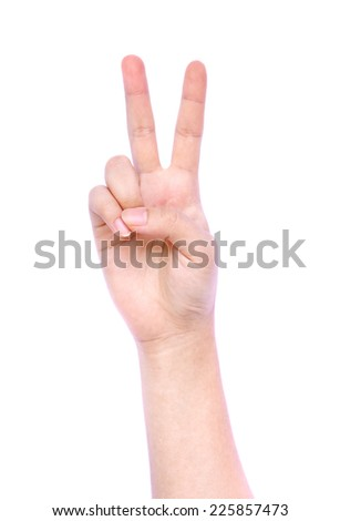 Woman hand showing two count, Victory - stock photo