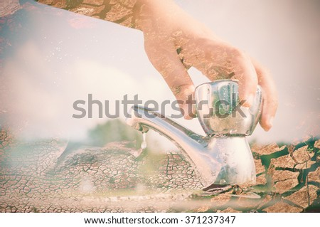 Woman hand shut the faucet with arid land background, double exposure effect. - stock photo