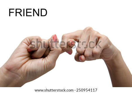 Woman hand sign FRIEND ASL American sign language - stock photo