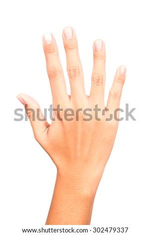 woman hand sign on white background - stock photo