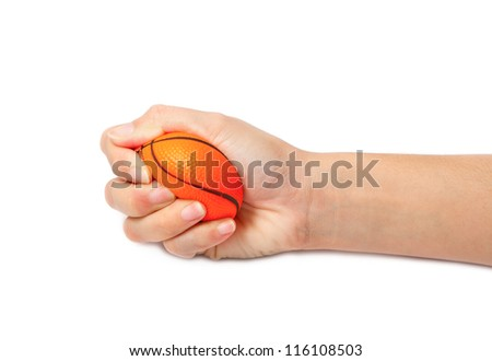 woman hand squeezing a stress ball,Abstract meaning being pressured - stock photo