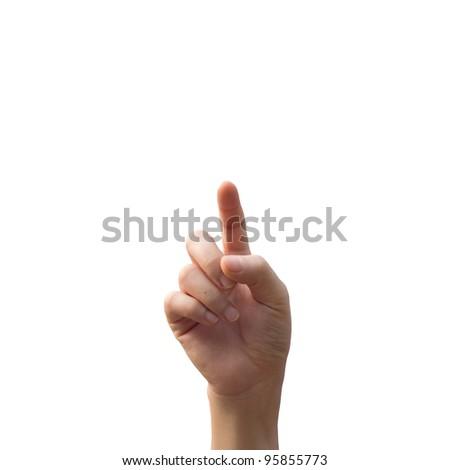 woman hand touching screen - stock photo