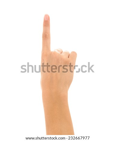 Woman hand touching screen Isolated on white background - stock photo