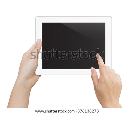 woman hand using digital tablet similar to ipad isolated clipping patch inside image data - stock photo