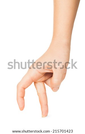 Woman hand walking with fingers isolated on a white background - stock photo