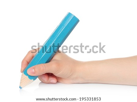 Woman hand with big blue wooden pencil on a white background   - stock photo