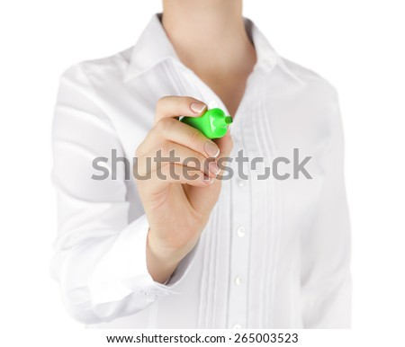 Woman hand with green marker drawing on screen - stock photo