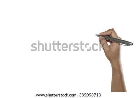 Woman hand with pen on white background - stock photo