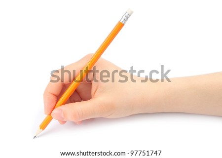 Woman hand with pencil on a white background - stock photo