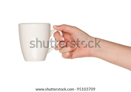 Woman hand with perfect white cup isolated on white background - stock photo