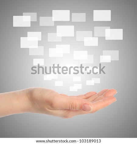 Woman hand with touch screen interface - stock photo