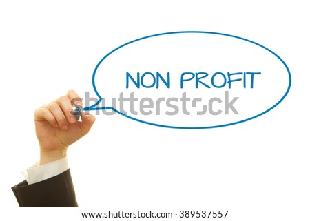 Woman hand writing Non Profit message on a transparent wipe board. - stock photo