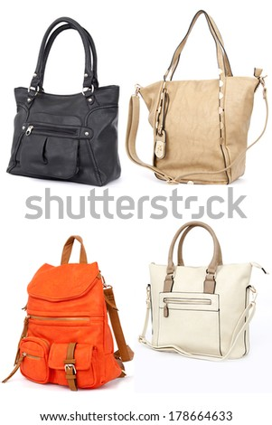 Woman handbag isolated on white background - stock photo
