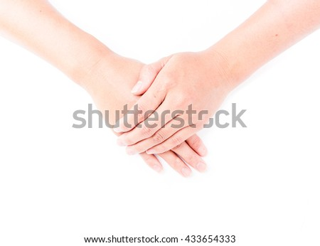 Woman hands clasp for praying on white background, religion concept  - stock photo