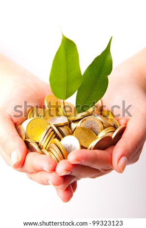 Woman hands full of coins and a little plant - stock photo