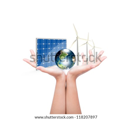 Woman hands hold Alternative Energy (solar cell, earth, wind turbine ) Elements of this image furnished by NASA - stock photo
