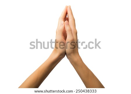 woman hands hold hands together is symbol prayer and gratitude ,Hello and thank in Thai position.Isolated on white. Alpha.  - stock photo