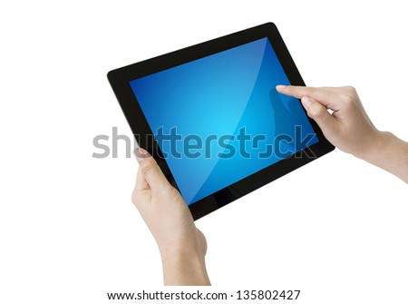 Woman hands holding and pointing on contemporary digital frame.Include clipping path - stock photo