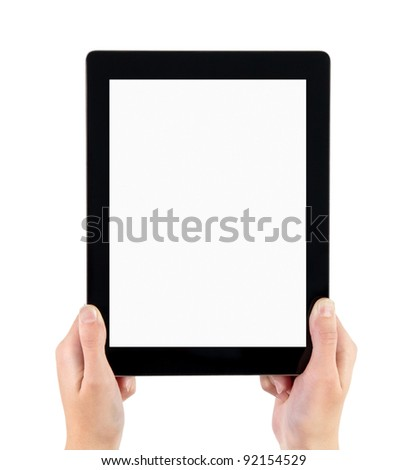 Woman hands holding contemporary generic tablet pc with blank screen. Isolated on white. - stock photo