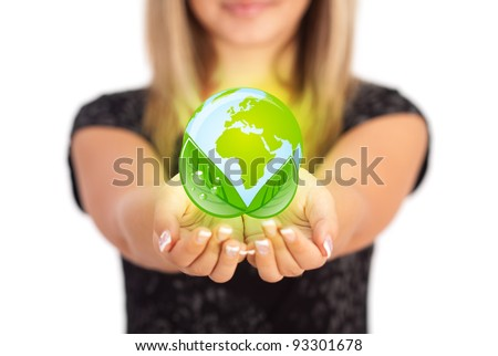 Woman hands holding ECO sign, Concept Save green planet. Symbol of environmental protection - stock photo