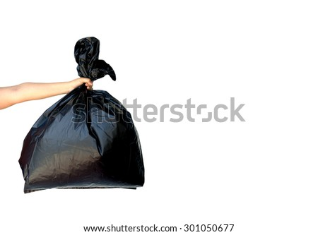 woman hands holding garbage bag isolated on white background - stock photo
