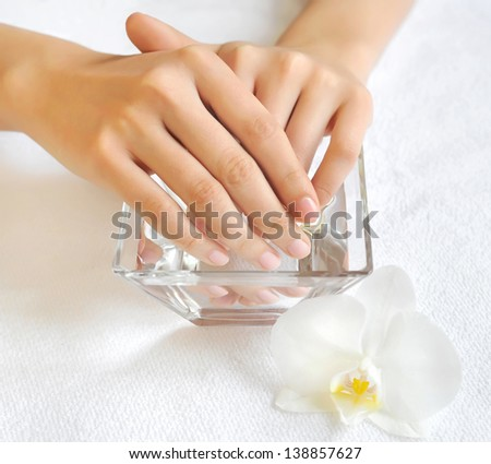 Woman hands in glass bowl with water on a white towel - stock photo
