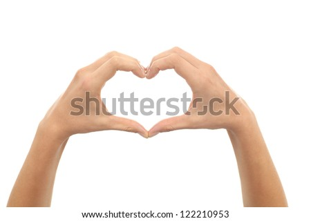 Woman hands making a heart shape on a white isolated background - stock photo