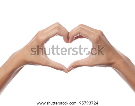 woman hands on white background isolated - stock photo