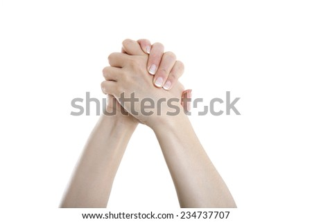 woman hands shaking over the blue sky - stock photo