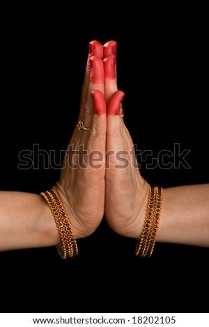 "Woman hands showing Palli hasta (meaning ""Respectful salutation"" of indian classic dance Bharata Natyam - stock photo"
