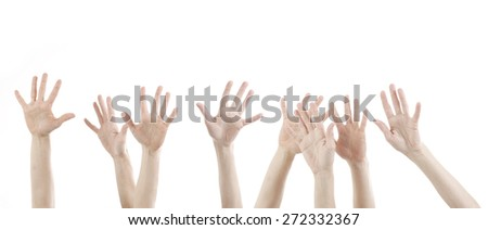 woman hands up with white - stock photo