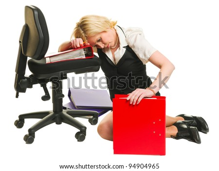 Woman has a burnout, office situation, white isolated background. - stock photo