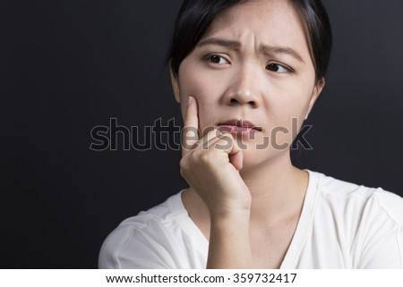 Woman Has Doubt - stock photo