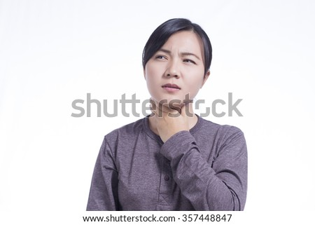 Woman Has Sore Throat on Isolated White Background - stock photo