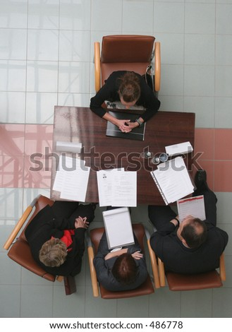 woman having job interview - stock photo