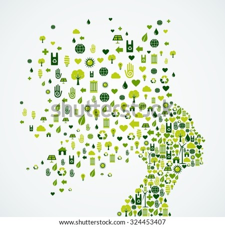 Woman head silhouette with ecology and environment app icons splash concept illustration.  - stock photo