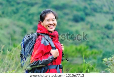 woman hiker - stock photo