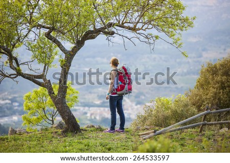 Woman hiker with backpack standing under tree and enjoying valley view - stock photo