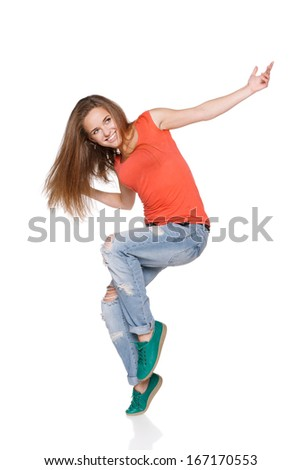 Woman hip hop dancer over white background - stock photo