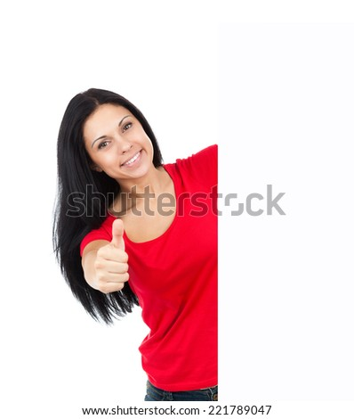 woman hold sale poster happy smile , show empty blank board copy space, attractive young girl red t shirt, isolated over white background - stock photo