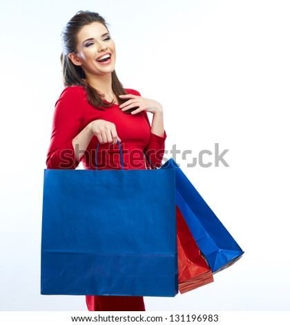 Woman hold shopping bags isolated on white background. Young Female model . - stock photo