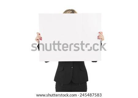 Woman holding a blank billboard against a white background - stock photo