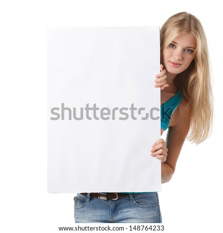 Woman holding a blank board  - stock photo
