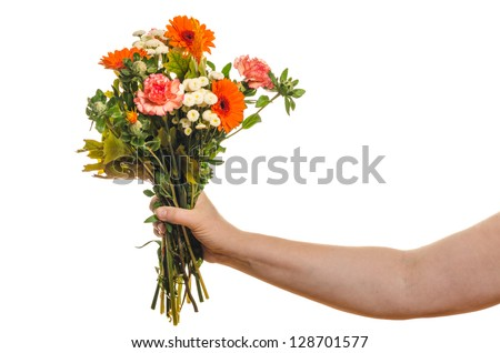 Woman holding a bouquet of flowers isolated on white background - stock photo