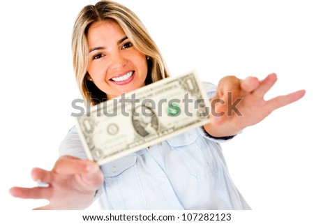 Woman holding a dollar bill - isolated over a white background - stock photo