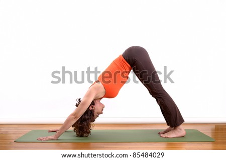 woman holding a downward facing dog pose on a mat - stock photo