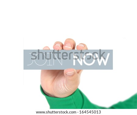 woman holding a label  hire me - stock photo