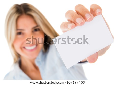 Woman holding a personal contact card - isolated over a white background - stock photo